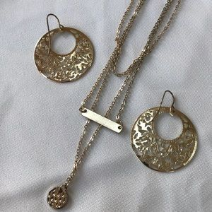 Three chained necklace n gold earrings set